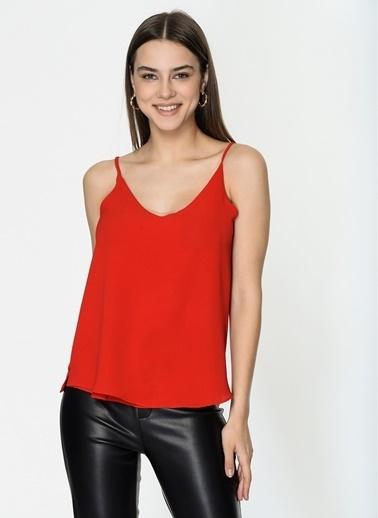 Loves You Ön Arka V Astarlı Askılı Bluz Kırmızı